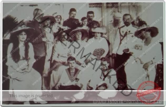 Carte postala ilustrata - Familia Imperiala Rusa si Familia Regala Romana - 1914