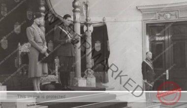 Regina-mamă Elena, regele Mihai I și mareșalul Ion Antonescu