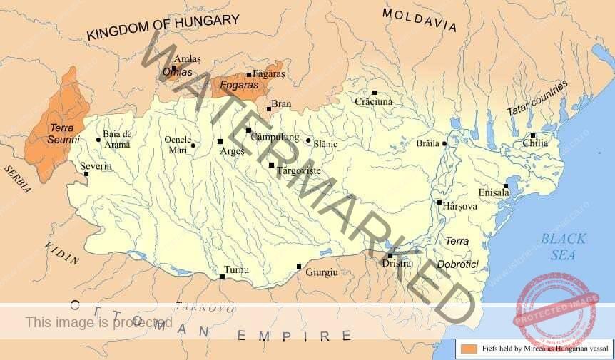 Cea mai mare întindere a Țării Românești din vremea lui Mircea cel Bătrân