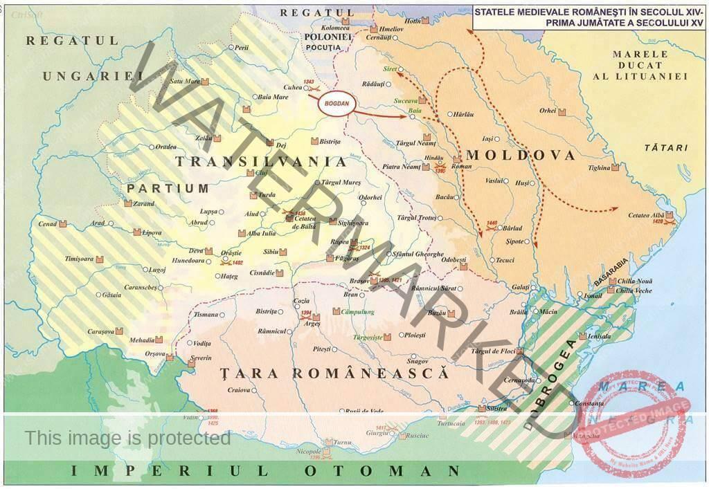 Statele medievale în spațiul românesc: Transilvania, Țara Românească, Moldova, Dobrogea