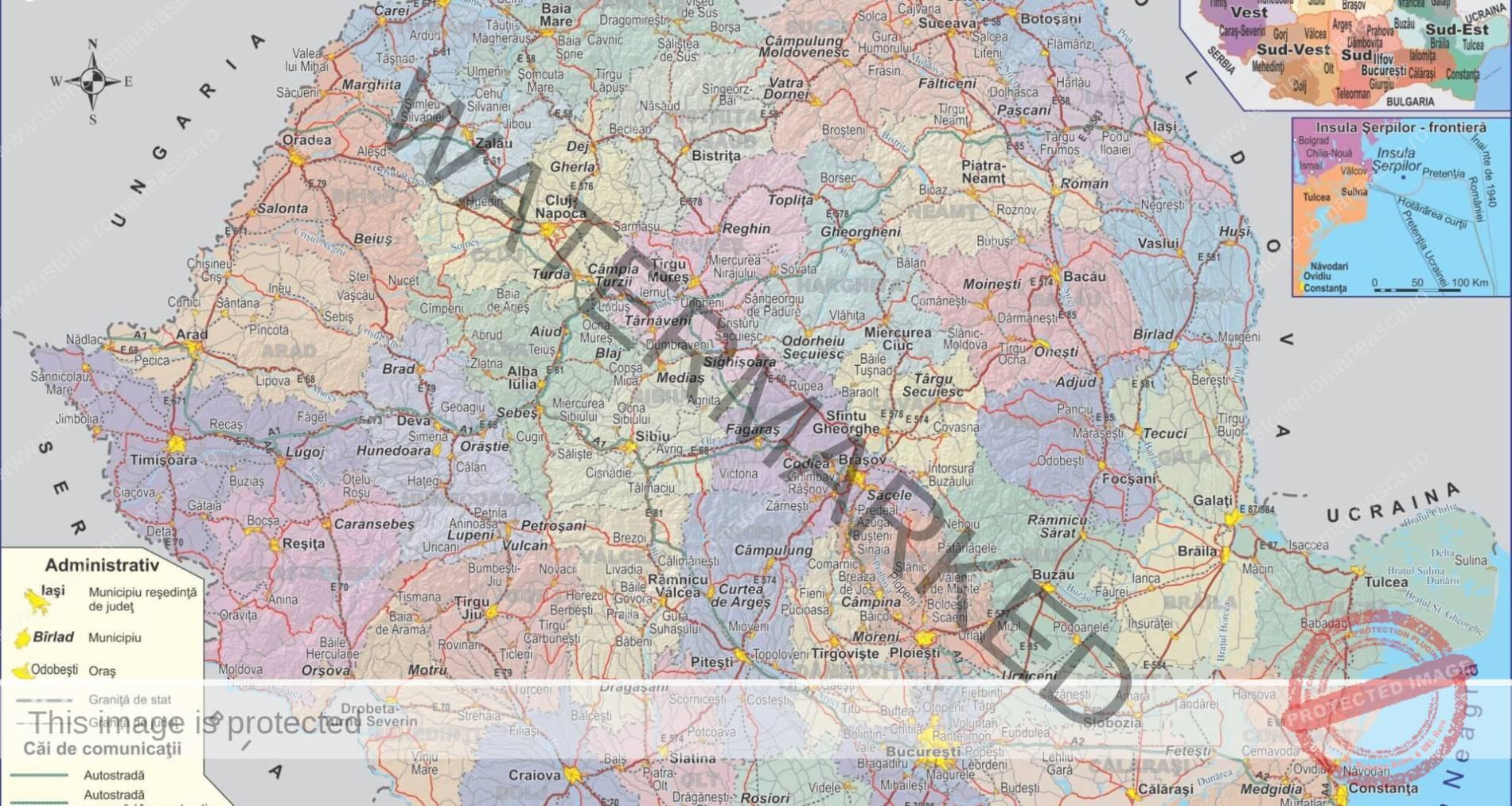 Harta fizică și administrativă a României după 1989