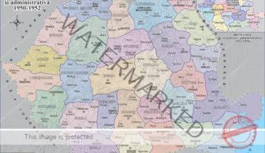 Harta fizică și administrativă a României între anii 1950-1952