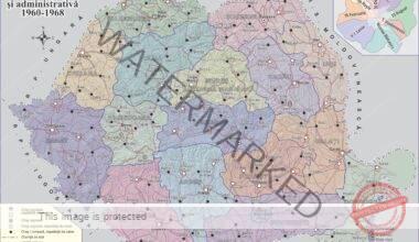 Harta fizică și administrativă a României între anii 1960-1968