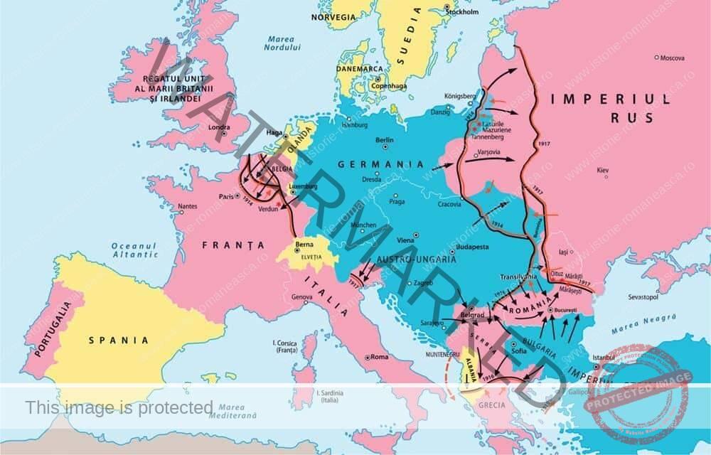 Primul Război Mondial. Evoluția alianțelor. Fronturile de luptă (clasa a VII-a)